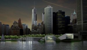 A computer generated model of what the berm will look like.<br> Rebuild By Design/ Bjarke Ingels Group