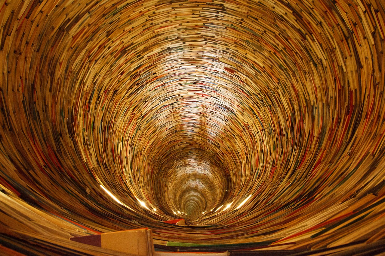 Picture of swirling books