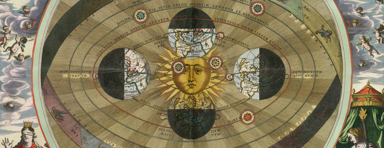 Scenography of the Copernican world system by Andreas Cellarius. Public domain via Wikimedia Commons.