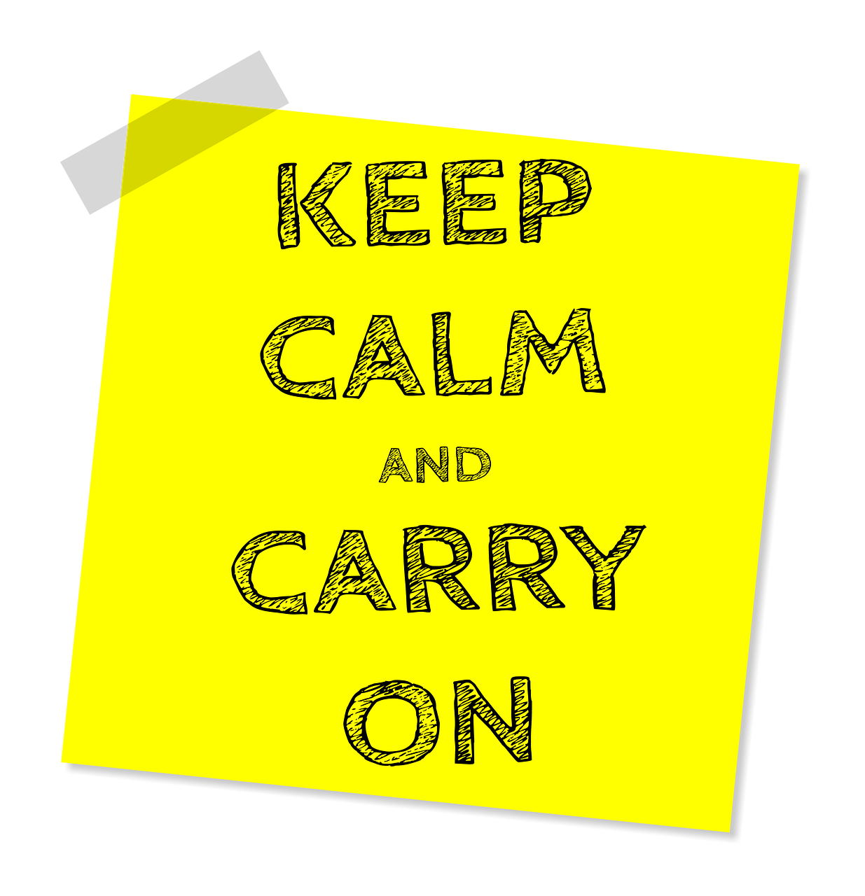 "Post it note of ""Keep Calm and Carry On"""