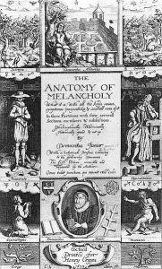 Frontispiece for the 1638 edition of Robert Burton's The Anatomy of Melancholy. Public domain via Wikimedia Commons.