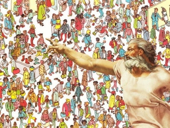 A Where's Waldo type image with a God figure pointing to the Waldo figure