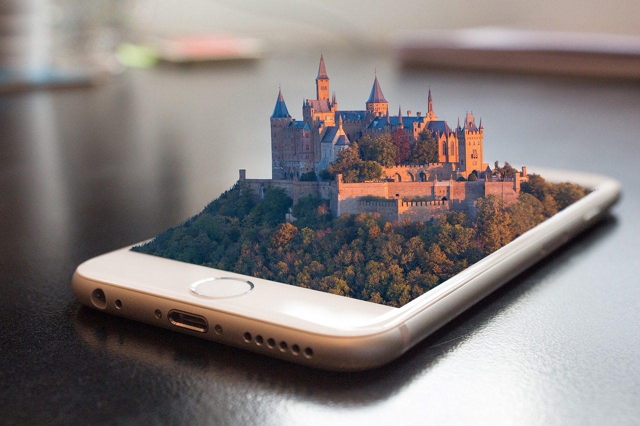Castle growing out of mobile phone