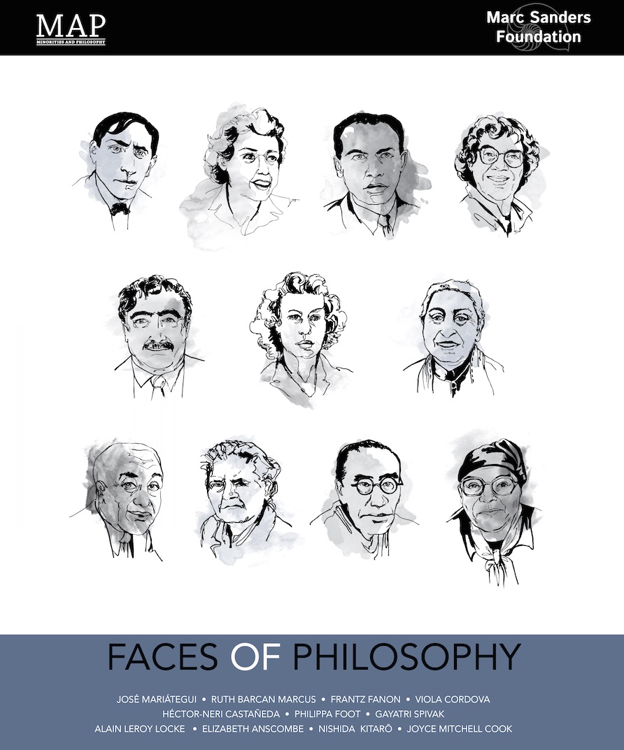 """Faces of Philosophy"": the poster our chapters receive on joining MAP, designed by Renee Bolinger (USC)."