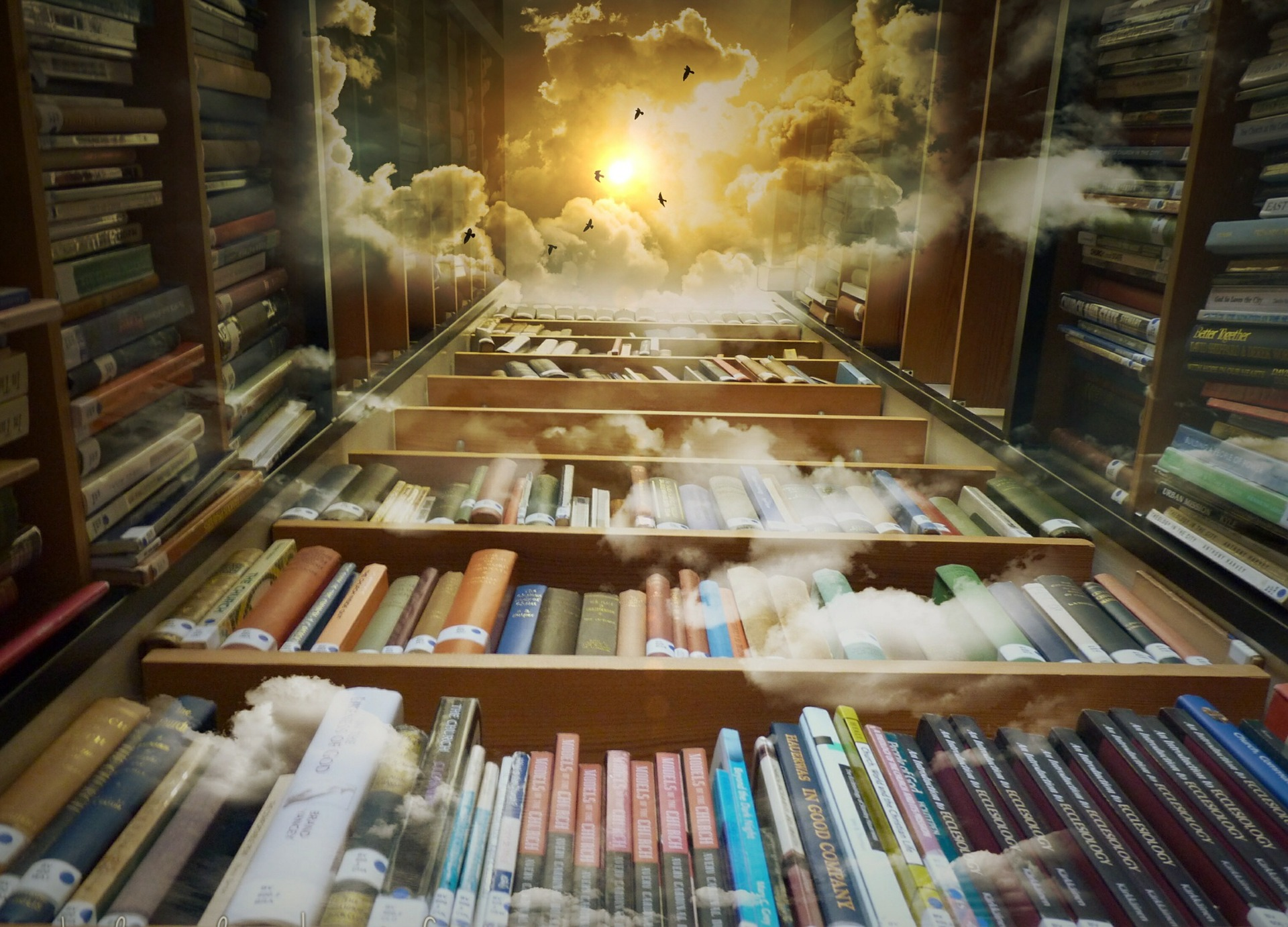 library and clouds picture