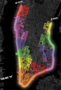 "A map of the planned ""Big U"" in Manhattan"