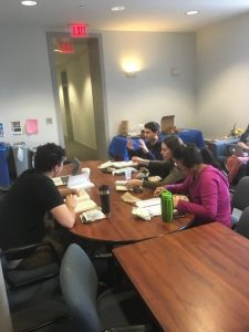 Philosophy of race reading group at their weekly meeting over lunch