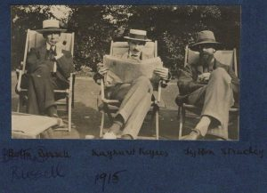 Bertrand Arthur William Russell, 3rd Earl Russell; John Maynard Keynes, Baron Keynes; Lytton Strachey, by Lady Ottoline Morrell